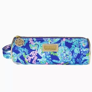 Lilly Pulitzer Pencil Pouch Makeup Brush Case Blue